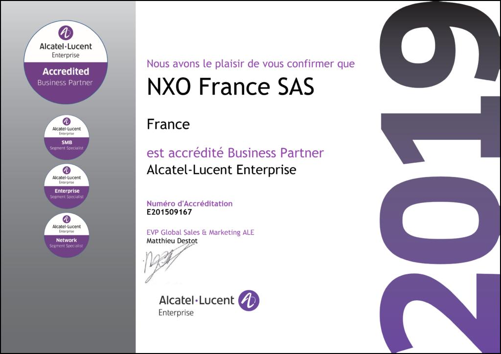 Certifications et accréditations Alcatel-Lucent Enterprise de NXO