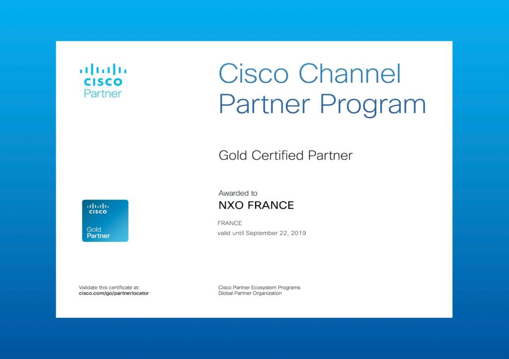 NXO Gold Certified Partner Cisco, certificat