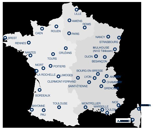 Agences NXO en France - Carte
