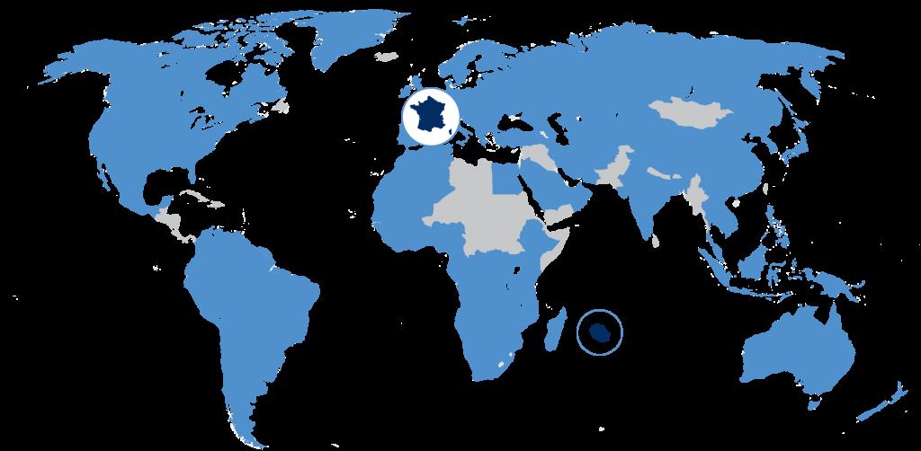 NXO à l'international - Carte