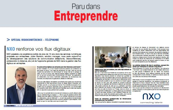 Paru dans Entreprendre : NXO renforce vos flux digitaux
